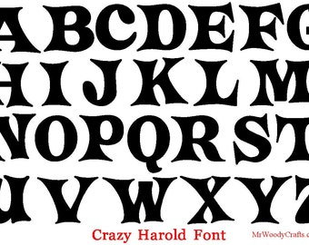 "12 Inch Unfinished Wooden Letters, 5 Fonts Georgia, Curlz , Boys R Gross, Crazy Harold and Delta Hey,  1/2"" Thick, Ready to  Paint , 1-18"