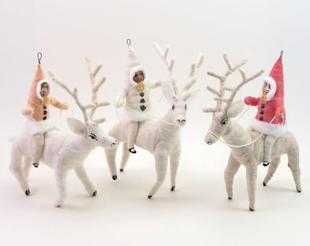 Vintage Inspired Spun Cotton Single Deer Rider Figure/Ornament (MADE TO ORDER)