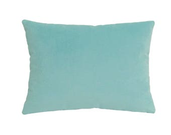 Aqua Velvet Suede Decorative Throw Pillow Cover / Pillow Case / Cushion Cover / 12x16""