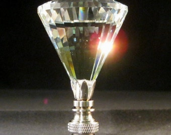Lamp Finial-Faceted Clear Diamond**Satin Nickel Base**