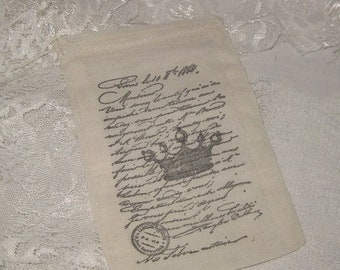 Wedding Sale Muslin Favor Pouches Vintage Inspired Paris Crown French Script Muslin Gift Pouches