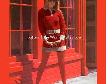 Vintage Crochet PDF Pattern 008 Mod Mini Dress Piccadilly from WonkyZebra