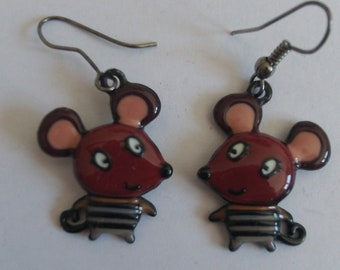 grey red mouse earrings