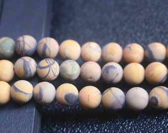 Matte Natural Yellow Banded Picture Jasper Gemstone Round Beads  8mm -15'' Full Strand