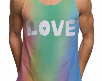 Mens Love Slogan Gay Pride Tank Top For Festival Gym Summer Ibiza Holiday Fashion