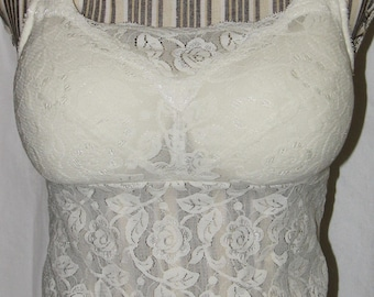 Cream Lace Camisole with Fully Stuffed Padded Cups 34B