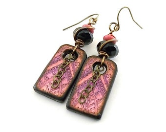 Handmade Earrings, Wood Earrings, Dog Tag Earrings, Decopage Earrings, Artisan Earrings, Boho Chic Earrings, Pink Earrings, Antique Brass
