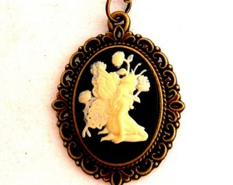fairy woman cameo necklace