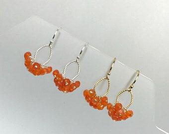 Cluster Earrings Carnelian Earrings  Dangle Earrings Delicate Earrings Boho Earrings Minimalist Earrings Gemstone Earrings Dainty Earrings