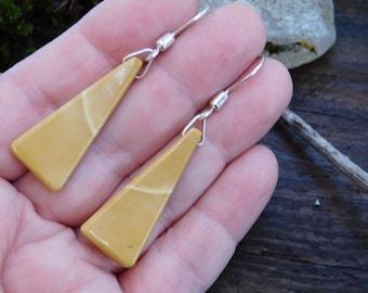 Golden Australian Mookaite Jasper and Sterling Silver Earrings
