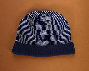Navy/White Cashmere Stripa Hat
