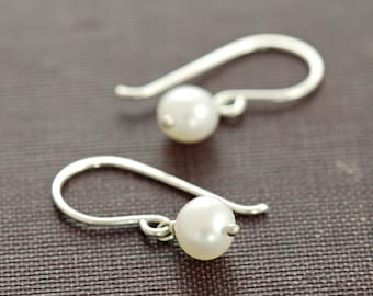 Pearl Jewelry, June Birthday Earrings, Simple Sterling Silver Pearl Dangle Earrings, Handmade