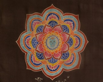 Silk scarf handpainted, Silk mens scarf, Mandala Scarf, Handmade scarf, Flower scarf, Square scarf, Luxury scarf, Tribal scarf, Brown scarf