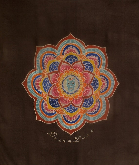 Mens hand painted silk scarf with Beautiful mandala and skull