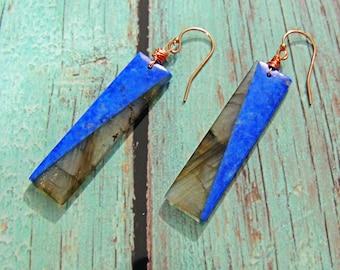 Earrings gold filled 14 Krats Lapis Lazuli and labradorite 41*10mm