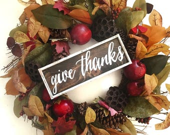 Give Thanks Handcrafted Wooden Fall Sign // Thanksgiving Sign // Rustic Fall Sign // Farmhouse Fall Sign // Hand Painted Sign