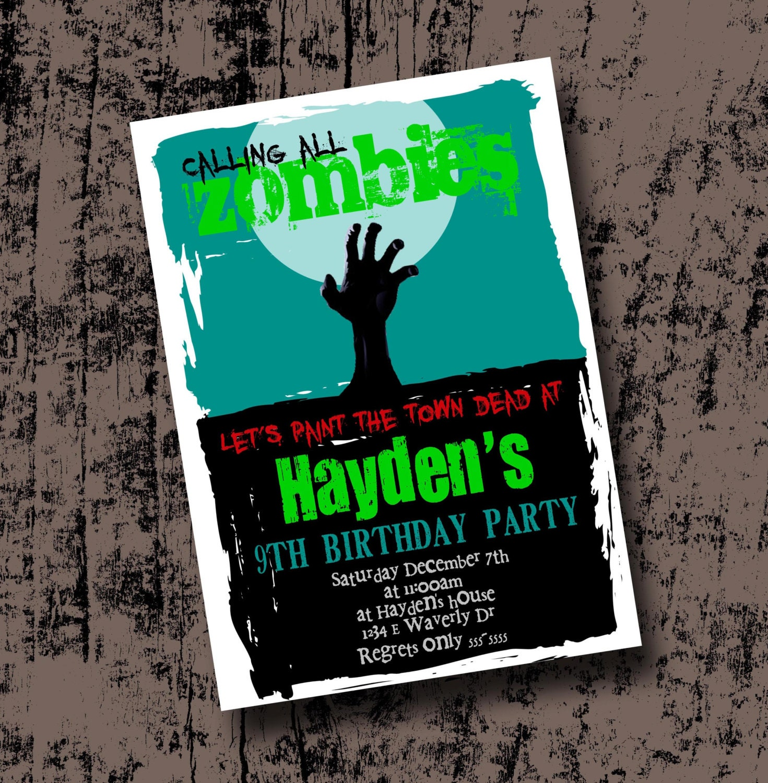 Zombie Birthday Party Invitation Printable