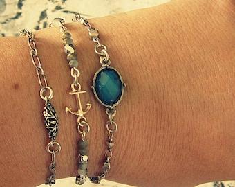 Anchor Bracelet Woman, Stackable Bracelet Silver, Stackable Bracelet Sets, Stacked Bracelet Woman, Stackable Bracelets For Women