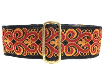 Jacquard Martingale Dog Collar, 2 Inch Martingale Collar, Gold Martingale Collar, 2 Inch Dog Collar, Greyhound Collar