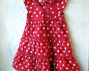 Little Girls Dress, Dotted Red Toddlers Dress, 12 to 18 months, Red, Polka Dots, Childrens Clothing, by mailordervintage on etsy