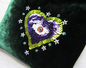 Handmade green velvet purse / shoulder bag  with sequin heart and eye  OOAK *twilightdance