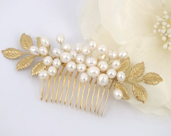 Queen Juno - Freshwater Pearl and Golden Leaves Bridal Comb