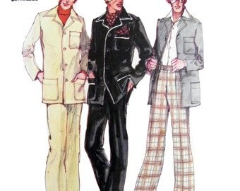 1971 Butterick 5123 Robert L Green Mens' Hipster Shirt Jacket with Contrast or Piping Trim and Slightly Flared Pants Sewing Pattern Size 38