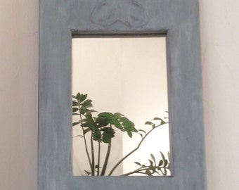 French rustic old mirror, carved, antique clover