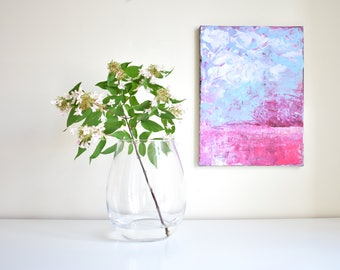 Abstract painting ' Farm ' original, acrylic on canvas, pink, blue, white, abstract landscape, field, sky