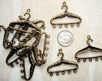 """10  ANTIQUED """"CLOTHES HANGER"""" Charms -  35mm Length x 30mm High"""