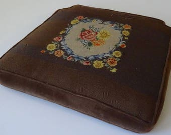 Needlepoint Vintage Brown Chair Cushion
