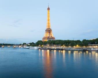 Eiffel Tower Photo Print - Paris Wall Art - Blue Art Print - Paris Photography Print - Paris Lover Gift - Paris Bedroom Decor