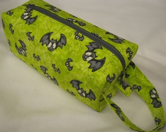 Green Bag with Bats Flying with surprise embroidery inside - Cosmetic Bag Makeup Bag LARGE