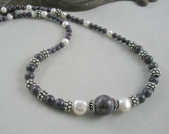 Purple, White and Sterling Silver Necklace