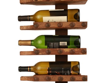 Reclaimed Wall Wine Rack-Rustic-Mexican-13x28x5 in-Western-Repurposed-Primitive-Vintage-Clavos-Wine Bottle Holder
