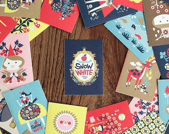 Snow White stickers, Snow White labels, Snow White, Fairytale sticker, Fairy Tale sticker, Sticker Label, Nacoo Book Label
