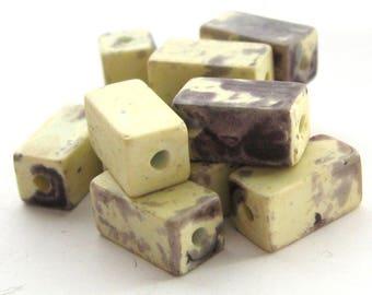 12 Vintage Miyuki Glass Cream Charcoal Rectangular Cube Beads, 11 mm, Mottled Brick Shaped Japan Miyuki Glass Beads, Bead Destash