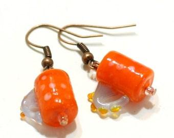Orange Coffee Mug Glass Lampwork Bead Earring - Hot Chocolate Cappuccino Cup Earrings