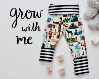 Grow With Me Pants - Baby Toddler Leggings - Canadian Stripes