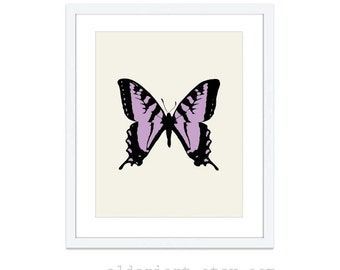 Butterfly Digital Art Print - Butterfly Wall Art - Purple Lavender - Nature Spring Decor