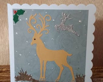 Christmas card, Handcrafted, Blank card, Reindeers in the snow, snowy, Christmas, unique