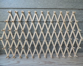 vintage expandable rack huge wooden peg wall rack accordion hat rack 72 hooks primitive wall hanger mudroom laundry rack