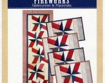 Pattern~Fireworks Table runner and Placemats Uses the Basix Template Fast Shipping Pt110