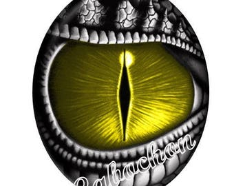 1 cabochon illustrated 30 x 40mm domed glass cabochon steampunk dragon eye image