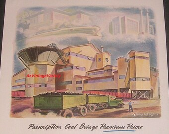 1944 Sahara Coal Company Plant Art Illustration, Harrisburg Illinois, Vintage Print Ad, McNally Pittsburg Mfg Corp, Industrial Decor