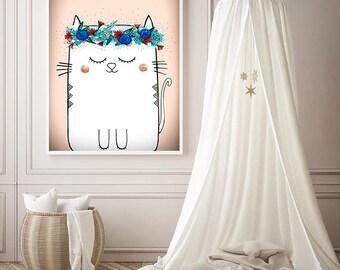 "Original Childrens Drawing - Cat - 8.5x12"" up to 24x34"" Nursery Art Print, Kids Room Wall Decor, Illustration"
