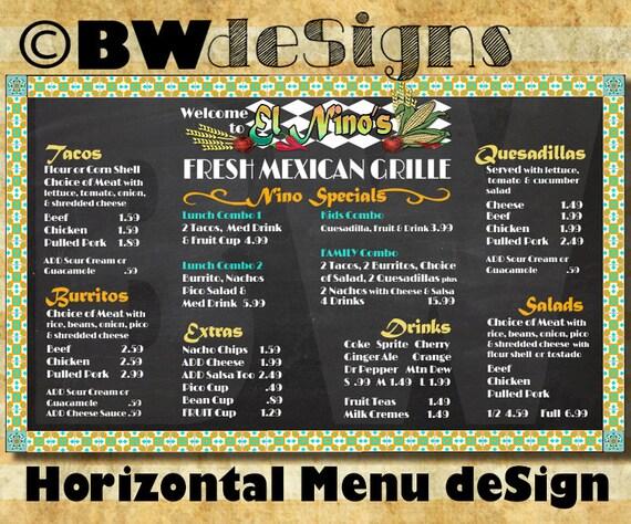 Favorite Custom Mexican Restaurant Menu HORIZONTAL MENU Board Mexican UO15