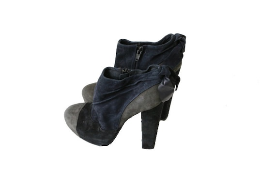 5 Suede 8 Boots Blue 39 Booties Platform Gray Women Chunky Black 6 Vintage Gothic Ankle Platform YRp6qxZ