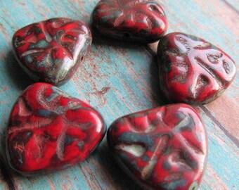 Scarlet Carved Heart, 17 x 16mm Heart, Czech Glass Beads, Red Czech Glass Heart, Red Czech Glass, Heart bead, Czech Glass, 17x16HEART-SCAR