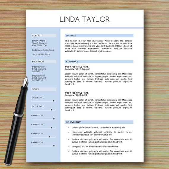 Professional Cv Resume Templates: Professional Modern Resume Template For Microsoft Word